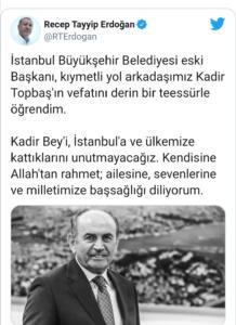 Geçen kasım ayından bu yana koronavirüs tedavisi gören Eski İBB Başkanı Kadir Topbaş hayatını kaybetti. Koronavirüs tedavisi gören Eski İstanbul Büyükşehir Belediye Başkanı Kadir Topbaş hayatını kaybetti. 16 Kasım 2020'de kaldırıldığı özel bir hastanede entübe edilen ve uzun süredir yoğun bakımda olan Topbaş'ın ölüm haberinin ardından Cumhurbaşkanı Recep Tayyip Erdoğan şu mesajı yayınladı: