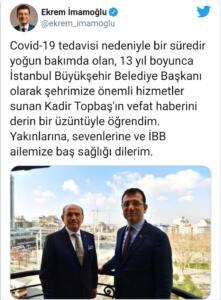 İstanbul Büyükşehir Belediye Başkanı Ekrem İmamoğlu da, yine Twitter üzerinden yayınladığı mesajında başsağlığı dileklerini paylaştı: