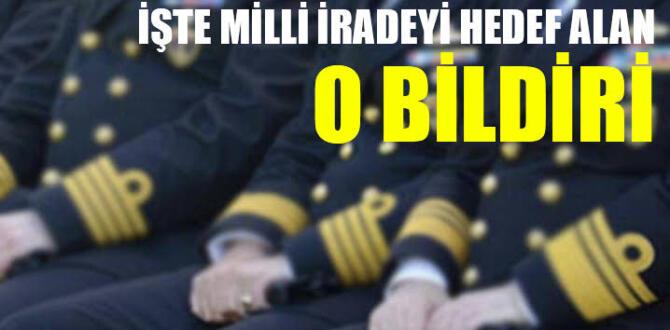 103 Emekli Amiral AK Parti'yi hedef alan Darbe bildirisi yayınladı!