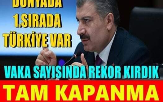 SON DAKİKA…. Dünya da 1. Sırada Türkiye Var.. Salgının En Kara Günü