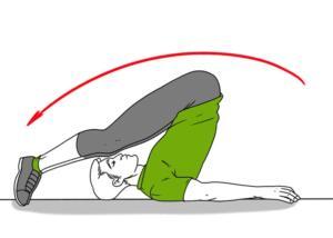 2.Yoga Bükülmesi Sırtüstü bir şekilde yere uzanın. Ellerinizi vücudunuzla birlikte zemine uzatın. Bacaklarınızı başının arkasına doğru atarak zemine ayaklarınızla dokunun. Bu işlemi 10 kez tekrarlayın.