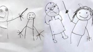 """İSTİSMARI RESİMLE ANLATTILAR Küçük kız ve ağabeyi, başlarına gelenleri, deftere yaptıkları çizimlerle de anlatmaya çalıştı. Bu resimler de soruşturma dosyasına girdi.Merve A., ifadesinde, """"Çocuklarımın dolduruşa gelerek yalan beyanda bulunduklarını düşünüyorum. Suçlamaları kesinlikle kabul etmiyorum."""