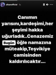 """Alişan'ın yakın dostu Demet Akalın ise Instagram'dan yaptığı paylaşımda """"Çok inanmıştık, dönecektin geri. Rabbim ailesine sabır versin. Gitti koca yürekli çocuk"""" ifadelerini kullandı."""